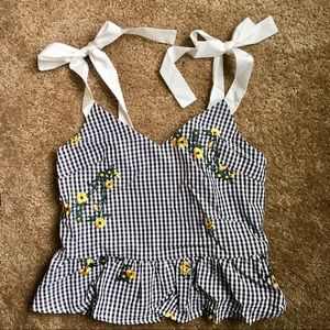 Brand new gingham top with white bow ribbon ties